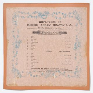 Broadside napkin]: Employees of Messers. Aldam Heaton & Co