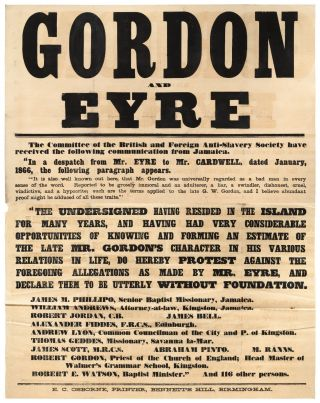 Very Large Broadside]: Gordon and Eyre. The Committee of the British and Foreign Anti-Slavery...