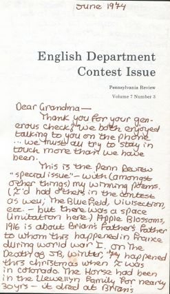 English Department Contest Issue: Pennsylvania Review: Spring 1974, Volume 7, Number 3