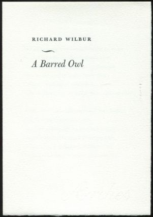 A Barred Owl. Richard WILBUR