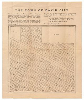 Broadside Map]: The Town of David City / The Colored Masonic Home, in Putnam County, Formerly...