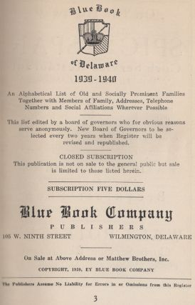 Blue Book of Delaware 1939-1940