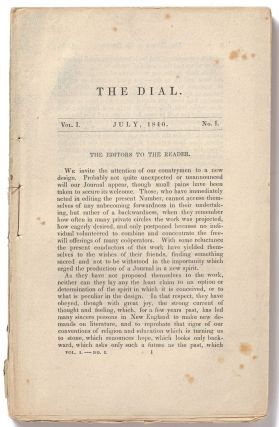 The Dial: A Magazine for Literature, Philosophy, and Religion: Vol. 1, No. 1: July 1840. Ralph...