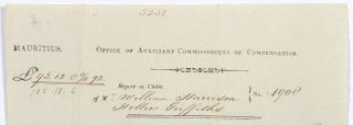 [Partially printed broadside document]: Mauritius. Office of Auxiliary Commissions of Compensation. Report on claim...