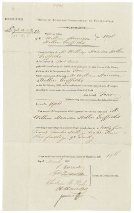 Partially printed broadside document]: Mauritius. Office of Auxiliary Commissions of...
