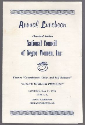 Program): Annual Luncheon Cleveland Section National Council of Negro Women, Inc. Theme:...