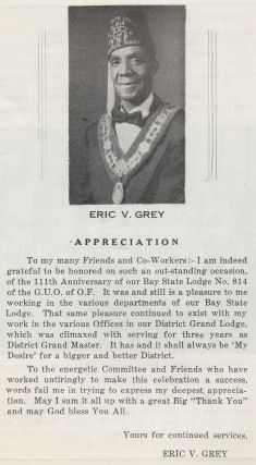 (Program): Testimonial Banquet Tendered to Eric V. Grey, P.D.G.M. of N.E. District Grand Lodge on the occasion of the 111th Anniversary Celebration Bay State Lodge No. 614 Grand Order of Odd Fellows