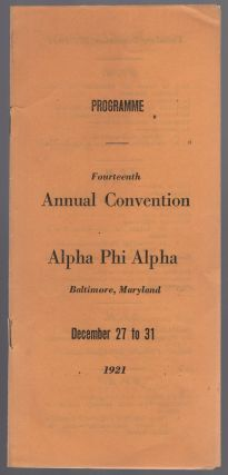 Programme. Fourteenth Annual Convention. Alpha Phi Alpha. Baltimore, Maryland. December 27 to 31,...