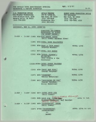 The Apollo 50th Anniversary Special Rehearsal & Taping Schedule