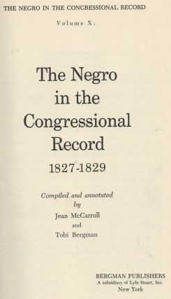 The Negro in the Congressional Record 1827-1829