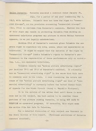 Columbia Pictures Television Report for Two-Fisted Stranger