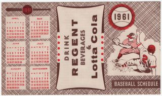 1961 Baseball Schedule. Drink Regent Beverages & Lotta Cola. (Pittsburgh Pirates