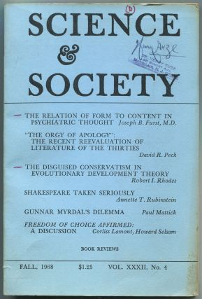 Science & Society: Volume XXXII, Number 4, Fall 1968. Joseph B. FURST, Martin Hall, James...