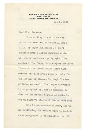 Four Letters from Maxwell Perkins to Sherwood Anderson's Widow