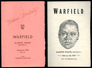 Programs from two William Warfield Performances