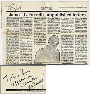 Broadside Offprint from the Toronto Telegram): James T. Farrell's Unpublished Letters. James T....