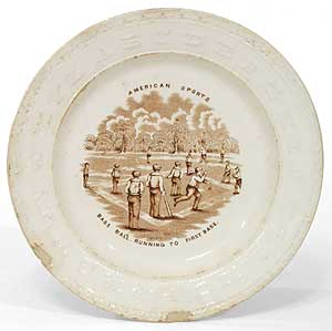 Porcelain Plate]: American Sports: Base Ball. Running to First Base
