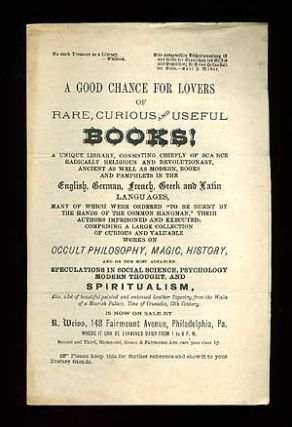 Broadsheet): A Good chance for Lovers of Rare, Curious and Useful Books! A Unique Library,...