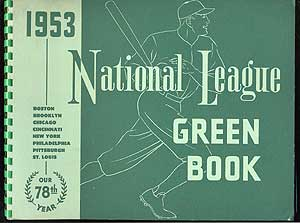 1953 National League Green Book. Dave GROTE