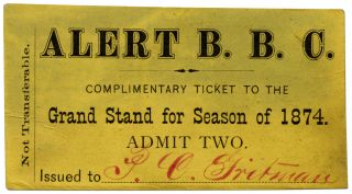 Season Ticket for the 1874 Alert Base Ball Club of Carbondale, Pennsylvania