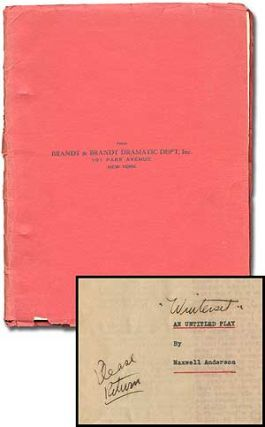 "Playscript]: An Untitled Play (Handwritten in is the eventual title ""Winterset""). Maxwell ANDERSON"