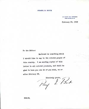 "Typed Letter Signed (""Pearl S. Buck"")"