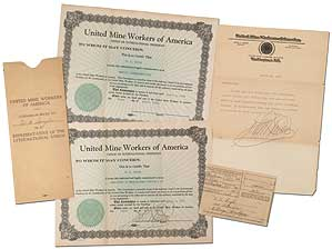"Small Archive]: United Mine Workers of America Commission Signed by John L. Lewis to W.A. ""Tough..."