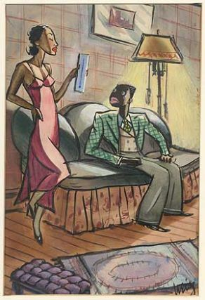 Humourous Watercolor of a Seductively Clad Woman Gauging the Temperature of Her Suitor