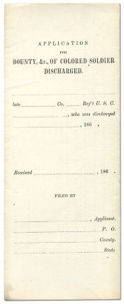 Application for Bounty, &c, of Colored Soldier Discharged